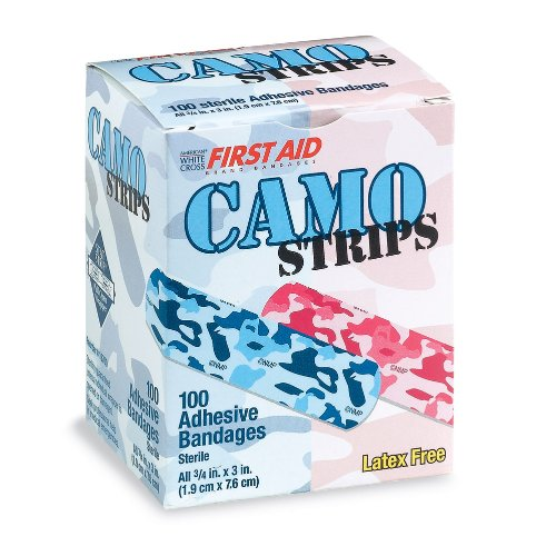 First-Aid Pink & Blue Camouflage Bandages - 100 per pack -