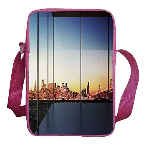 (Modern Decor Stylish Kids Crossbody Bag,Sunset in New York City Usa Cityscape with Bridge Skyscrapers Image for Girls,9