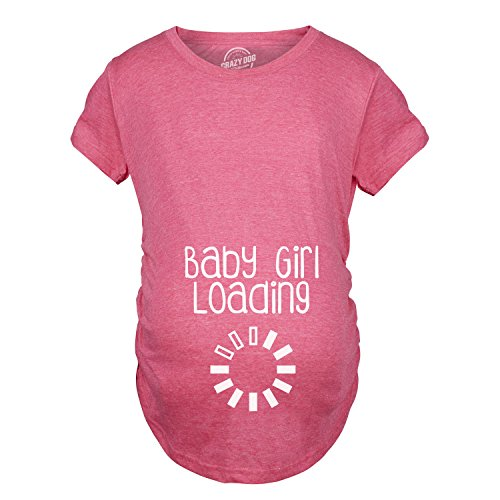 Maternity Baby Girl Loading Tshirt Funny Pregnancy Announcement Tee (Pink) - XL