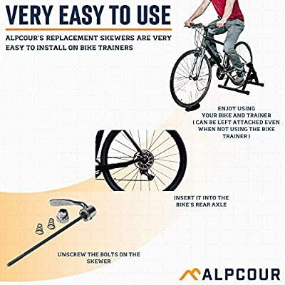 Indoor and Stationary Bicycle Training Replacement Parts and Accessories Quick Release Rear Wheel Axel Skewer for Road Mountain Bike Trainer Alpcour Replacement Skewer