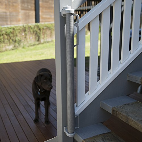 "Perma Outdoor Retractable Baby Gate, Extra Wide up to 71"", Gray by Perma Child Safety (Image #4)"