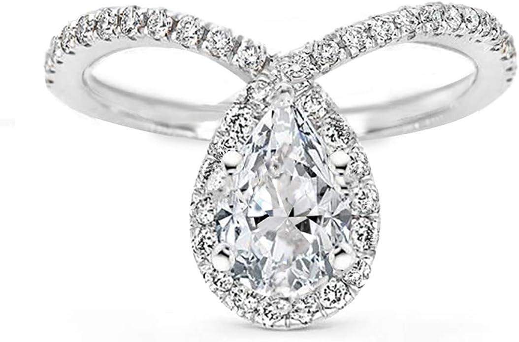 Round Cut Simulated Diamond Engagement Ring 0.70 Carat Chevron Engagement Ring Diamond Sterling Silver Wedding Ring E45