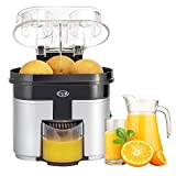 juicer non electric - CUH 90W Double Orange Citrus Juicer with Pulp Separator Whisper and Built-in Slicer, Silver Black