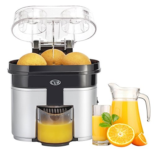 CUH 90W Double Orange Citrus Juicer with Pulp Separator Whisper and Built-in Slicer, Silver Black