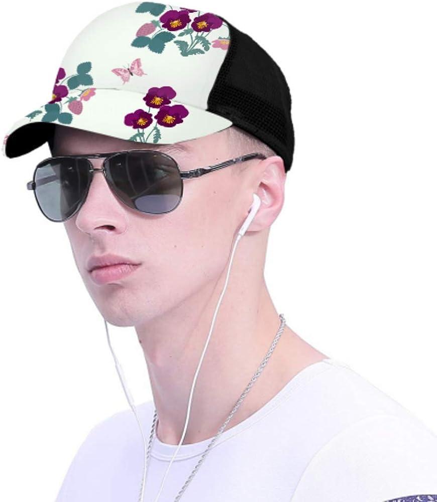 Baseball Cap Men Women Pansies Strawberry Butterflies Adjustable Trucker Mesh Summer Vented Baseball Sun Cap Hat Cap for Women