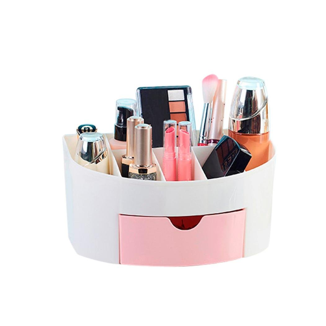 Paymenow Home Makeup Cosmetic Organizer Conceal Lipstick Eyeshadow Brushes Jewelry in One place Storage Drawers Cell Phone Holder (Pink)