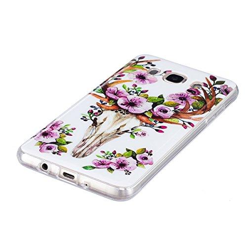 Noctilucent Funda para Samsung Galaxy J5(2016), Ukayfe Moda Alta Calidad suave de TPU Silicona Suave Funda Carcasa Caso Parachoques Diseño pintado Patrón para Samsung Galaxy J5(2016),Funda Case Lujo P Noctilucent-Ciervo sika