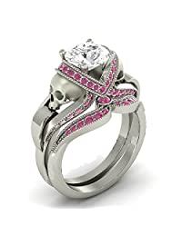 1.33 Cttw Round Cut White Simulated Diamond & Pink Sapphire 14k White Gold Plated Two Skull Wedding Band Engagement Bridal Ring Set-Fashion Ring