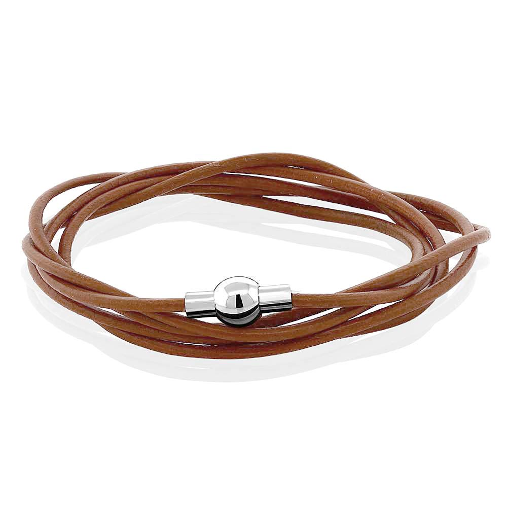 Gem Stone King Stainless Steel Buckle Brown Leather Wrap Bracelet 24