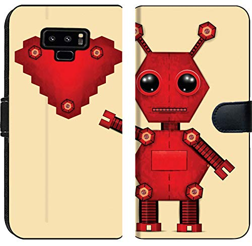 Liili Premium Samsung Galaxy Note9 Flip Micro Fabric Wallet Case Illustration of red Valentine Robot with Heart Clip Art Illustration - Clipart Robots