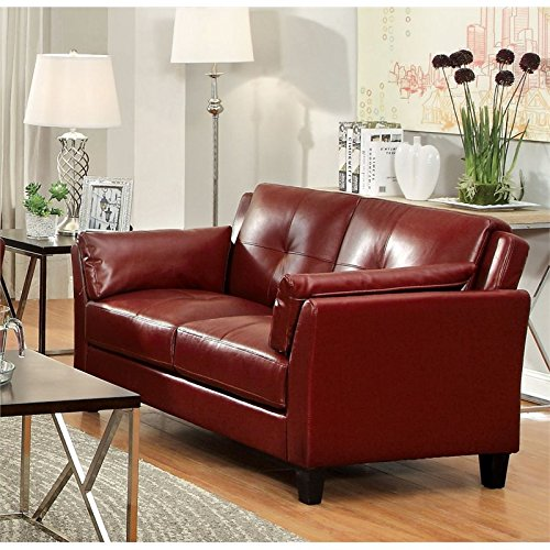 Angled Loveseat - HOMES: Inside + Out IDF-6717RD-LV Bareston Angled Pillow-Top Inside Armrest Loveseat, Red