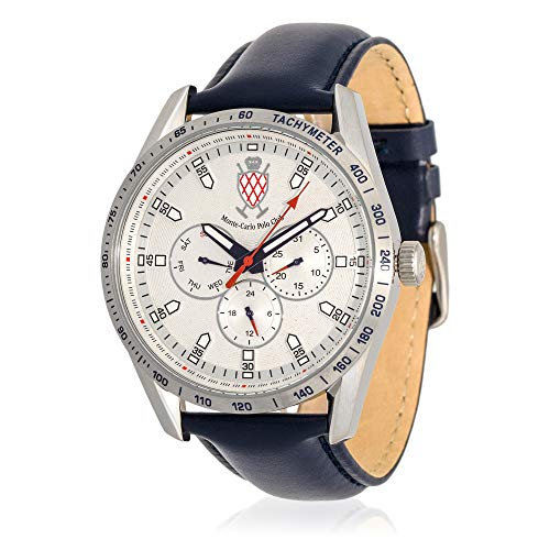 Carlo Watch Leather Monte (Monte-Carlo Polo Club Mens Classic Multifunction Watch with Silver Dial and Dark Blue Leather Strap)