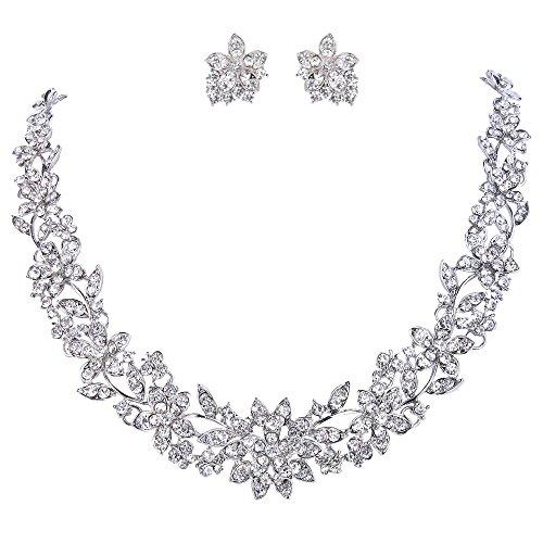 (EVER FAITH Wedding Cluster Flower Leaf Necklace Earrings Set Clear Austrian Crystal Silver-Tone)