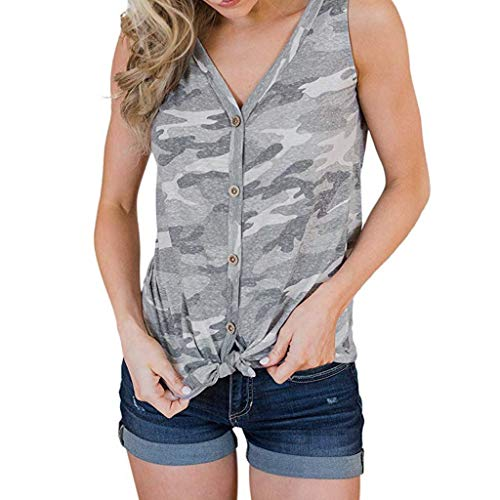 (Wadonerful Women's Summer Sleeveless Button Down T Shirts Tie Front Knot Blouse Cozy Strappy Tank Tops Gray)