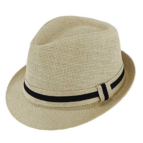 WESTEND Men's Short Brim Banded Fedora Hat, Large/XLarge, Beige ()