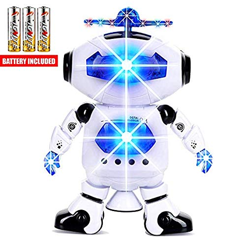 Toysery Electronic Walking Dancing Robot Toys for Kids - Little Robot with Music, LED Lights for 3 Year olds and Above- Battery Operated Robot Toy for Birthday Gift, Christmas, Easter