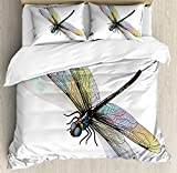 Dragonfly Duvet Cover Set King Size by Ambesonne, Shady Dragonfly Pattern with Ornate Lace Style Spiritual Beauty Wings Design, Decorative 3 Piece Bedding Set with 2 Pillow Shams, Multicolor