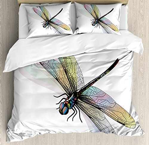 Dragonfly Duvet Cover Set King Size by Ambesonne, Shady Dragonfly Pattern with Ornate Lace Style Spiritual Beauty Wings Design, Decorative 3 Piece Bedding Set with 2 Pillow Shams, (Style Dragonfly Pattern)