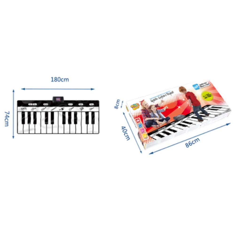 Play Keyboard Mat 71 Inches 24 Keys Giant Jumbo Sized Musical Keyboard Playmat With Record Playback Demo Play Adjustable Vol Foldable Floor Keyboard Piano Dancing Activity Mat Step And Play Instrument by GAOCAN-gq (Image #7)