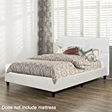 BestMassage Platform Bed Tufted Upholstered Queen Size Leather Headboard with Wooden Slats