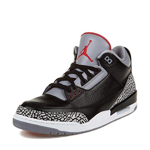 Nike Air Jordan 3 Retro Black Cement Leather Sneaker