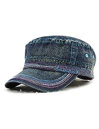 Roffatide Unisex Cotton Flat Top Hat Classical Military Hat