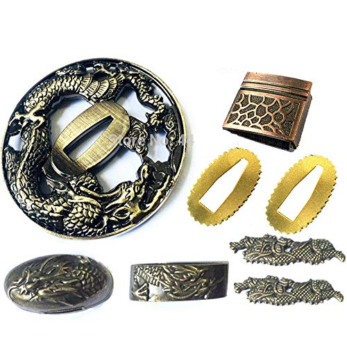 VARWANEO Dragon Theme Sword Guard for Katana/Wakizashi Fittings Set Kirsite Tsuba+Menuki+Fuchi+Kashira+Habaki+Seppa DIY Accessory Nice Metal Crafts