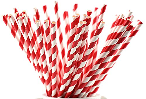 Red Stripe Paper Straws (FiveSeasonStuff 100 Pack 100% Biodegradable Paper Drinking Straws for Weddings, Birthdays, Showers, Christenings, Engagements, Graduation, New Years (White | Red Stripes))