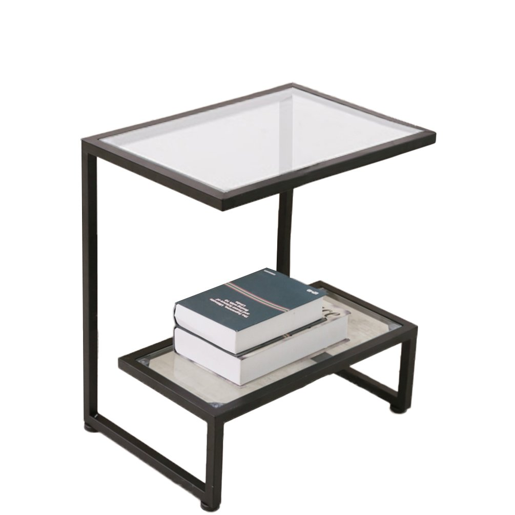 i nuovi marchi outlet online ZYH Tavolino da Salotto, tavolino da da da caffè angolare in Ferro Tavolino da Salotto in Vetro temperato Tavolino 35  50  55cm Alta qualità (colore   Nero)  più ordine