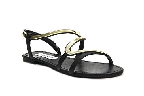 super popolare e4f17 b9eb6 STEVE MADDEN donna sandali flat BARTH 37 Nero: Amazon.it ...