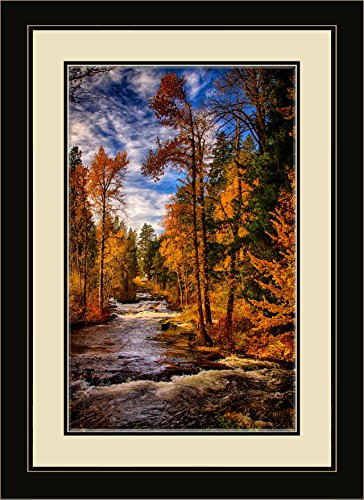 Northwest Art Mall NB-7862 MFGDM Trout Creek in Trout Lake Washington Framed Wall Art by Artist Nicholas Bielemeier, 13 x 16