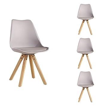 Zons 4 Stück Stühle Skandinavisches Design Trend Nordic Untergestell Holz  Natur Und Sitzfläche Aus Kunststoff PP