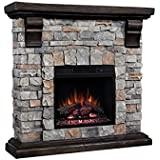 ClassicFlame Pioneer Stone Electric Fireplace Mantel Package, Brushed Dark Pine - 18WM10400-I601