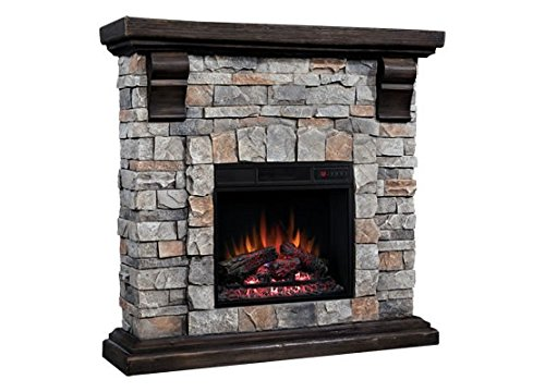 Classic Flame Pioneer Stone Electric Fireplace Mantel Package, Brushed Dark Pine - 18WM10400-I601 (Electric Classic Flame Infrared Fireplace)