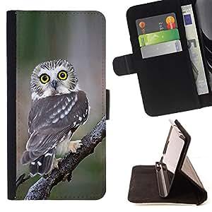 - owl surprised feathers nature wings - - Prima caja de la PU billetera de cuero con ranuras para tarjetas, efectivo desmontable correa para l Funny HouseFOR Samsung Galaxy S3 Mini I8190Samsung Galaxy S3 Mini I8190