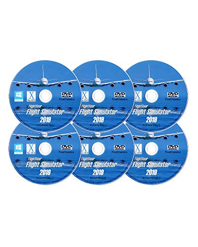9 X DELUXE Edition Flight Sim FlightGear 6 Disc DVD CD Set For Microsoft Windows 10 8 7 Vista PC & Mac OS X - 600+ Aircraft & FULL Worldwide Scenery! ()