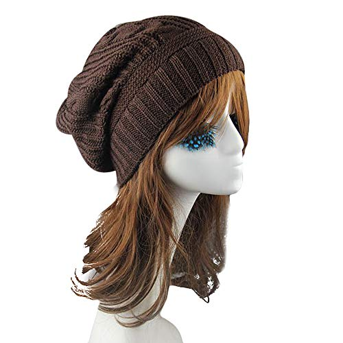 TWGONE Womens Knitted Caps Unisex Winter Warm Wool Hats Cap(Coffee,One Size) -
