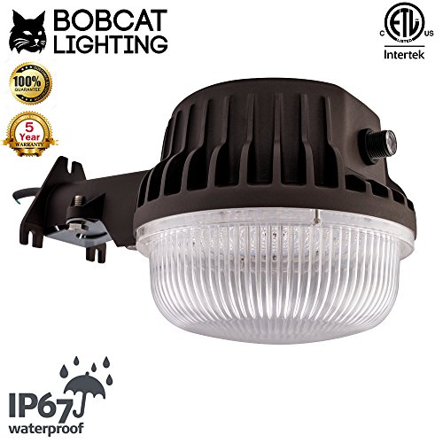 - Bobcat 80 Watt Dusk to Dawn Barn Light - LED Outdoor Yard Light with Photocell - 5000K Security Area Light, 9500 Lumens, UL Listed, DLC, 700W Incandescent or 200W HID Equivalent, Replaceable Photocell
