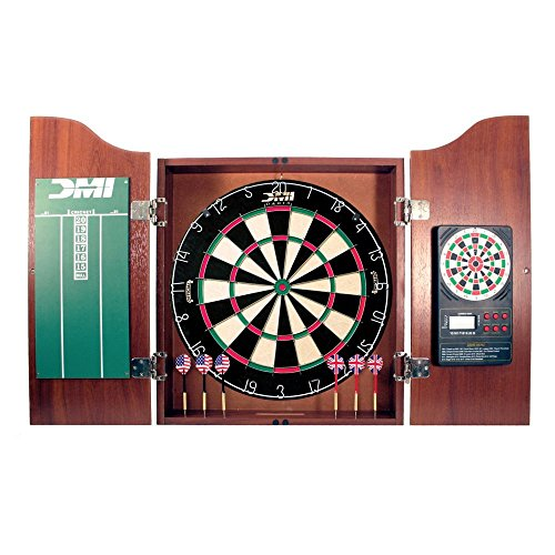 DMI Sports Deluxe Bristle Dartboard Cabinet Set with Electronic Scorer Includes 2 Dart Sets and a Chalk Scoreboard – Light Cherry ()
