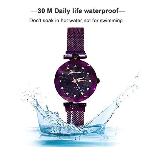 RORIOS Fashion Analogue Quartz Watches Magnetic Mesh Band Starry Sky Dial Simulated Diamond Wrist Watches for Girl/Women Waterproof by RORIOS (Image #6)
