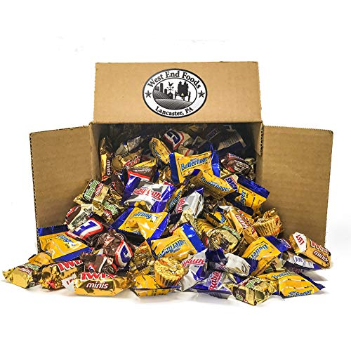 Bulk Candy Box (5 lbs) - Assortment of Miniature Chocolate Candy for Gift basket Treats and Kids Stocking Stuffers (Easter, Halloween, Christmas) and as a Box of Chocolates for Valentine's Day]()
