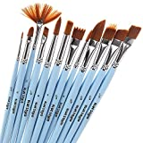 Artist Paint Brushes Set - 12 Professional Paint Brush Set for Face and Body Painting, Acrylic, Watercolor & Oil Paint, Wood Handles No Shed Nylon Bristles, Fine Round Pointed Flat & Fan, Art Supplies