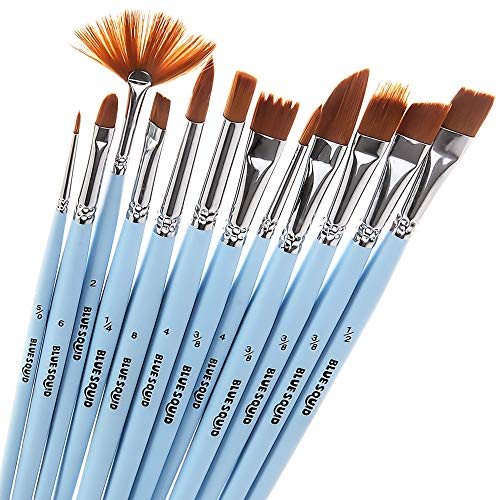 Watercolor Brushes Set 12 - by Blue Squid Perfect for Face Painting, Round Pointed Tip Nylon Hair Artist for Acrylic Watercolor Oil & Body Painting