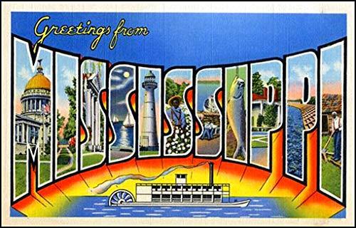 American Vinyl Vintage Greetings from Mississippi Sticker (Old Postcard Art Logo ms) (Postcard Mississippi)