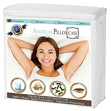 Set of 2 Waterproof Pillow Protectors Zippered - Dust Mite, Bacteria, Allergy Control - Encasement - Bed Bug Proof - 100% Satisfaction Guaranteed! (Standard Size, 2 Pk)