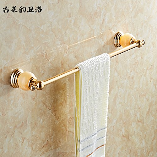 Yomiokla Bathroom Accessories - Kitchen, Toilet, Balcony and Bathroom Metal Towel Ring European Space Aluminum Deluxe Jade Turkish Luxury Gold-Piece Unit Shelf Single Lever