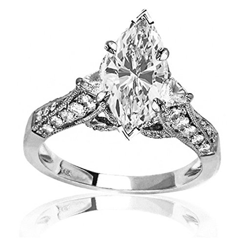 Cut Ladies Diamond Engagment Ring (1.3 Ctw 14K White Gold GIA Certified Marquise Cut Trillian And Round Diamond Engagment Ring, 0.5 Ct G-H SI1-SI2 Center)