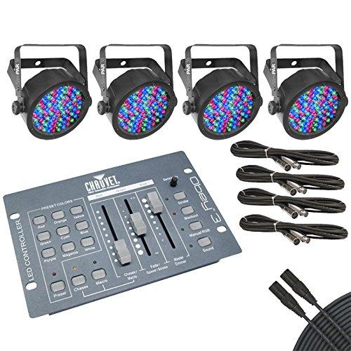 Chauvet SlimPAR 38 4-Pack w/ Chauvet Obey 3 DMX Lighting Controller and Cables by Chauvet