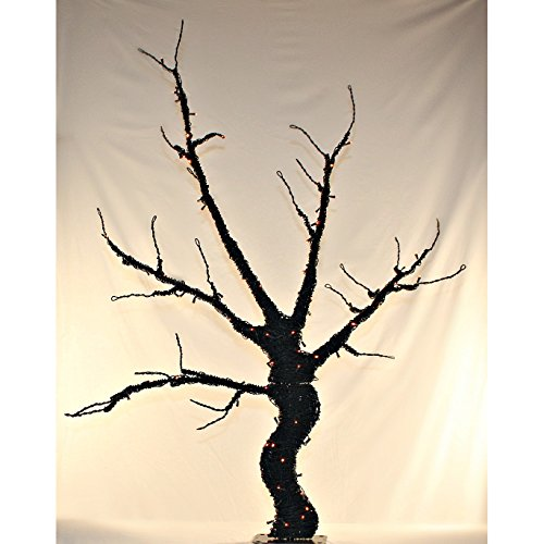 (6' Base Lit Black Halloween Tree Decoration - Outdoor Scary Spooky Cemetery - Fade, Heat, Weather, Water, Corrosion & UV Resistant LED Light Free Standing -)