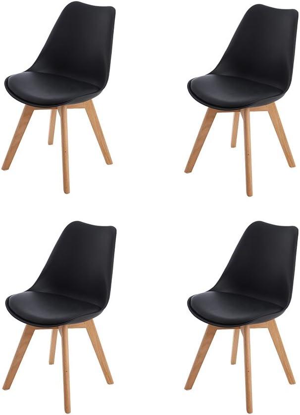 Chaises R/étro Tulip Bois de ch/êne Massif Noir H.J WeDoo Lot de 2 chaises de Salle /à Manger scandinaves
